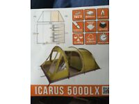 Brand new never used vango Icarus 500 deluxe tent and awning with footprint and carpet inc bedrooms