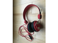 No Fear Amplifi Red Stereo Headphones Headband