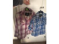 2 small ladies Superdry Check Shirts