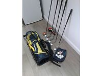 JUNIOR / KIDS SET OF GOLF CLUBS + GOLF BAG WITH HOOD & STAND + EXTRAS