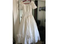 Vintage Ronald Joyce Ivory Wedding Dress with lace train and detail. Not worn or altered. Size 14
