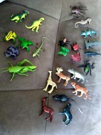 Mix of Mini animals, insects, sea creatures, dinosaurs (see photos for sizes)