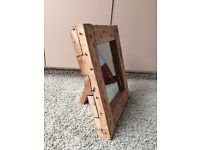 Chunky Heavy Rustic Industrial Reclaimed Wood Mirror - Ideal present for a man