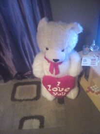 Large white Teddy says i love you on it