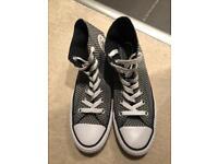 Converse Black/White patterned hi tops, size 3