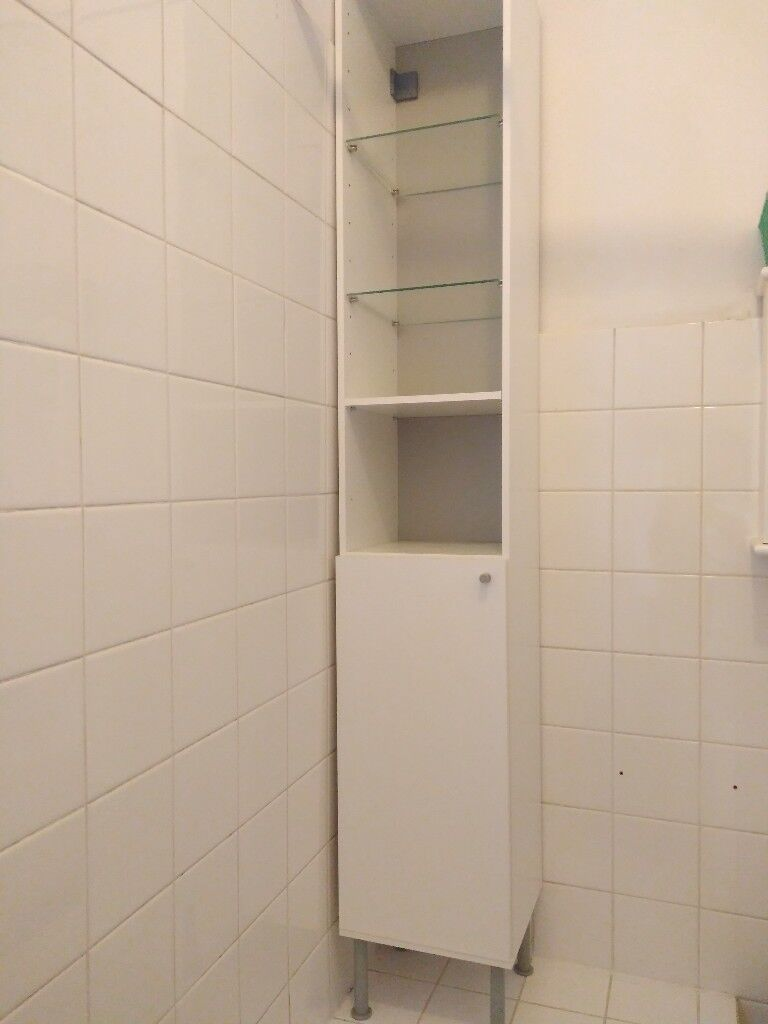 Ikea Fullen Bathroom Tall Cabinet With Glass Shelves And Cabinet