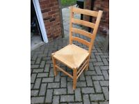 Set of 4 habitat dining chairs very good condition wicker and beech