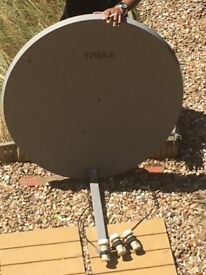 Satellite dish with three lnbs excellent working