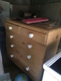 Chest of pine wood drawers