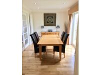 Solid Oak extendable Dining Table and 6 Leather Chairs