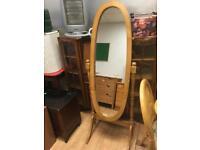 Freestanding pine mirror