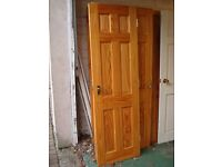 Ready to go Real Solid Wood, internal wooden panel pine door, brass handle & hinges *61cm by 198cm*