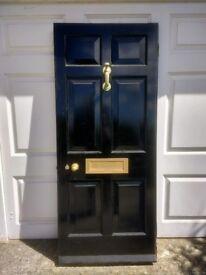 "Solid hardwood 6 panel door nominal 6' 6"" x 2' 9"" cw brass furniture and hinges"
