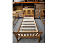 Solid Pine, antique pine finish, sleigh style single Parma bed frame, HUGE DISCOUNT just £39!