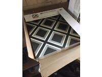 British ceramic tile - grey geometric