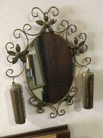 Charming Vintage Ornate Gilt Wall Hanging Mirror & Clothes Brushes on Two Hook Holders