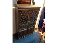 antique cabinet with glass window
