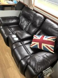 Leather lazy boy double seat recliner