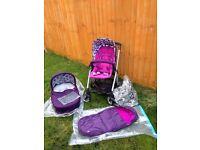 Mamas&Papas Sola Pushchair Set with Carry Cot - Purple