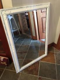 Vintage cream distressed mirror