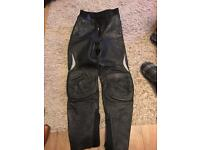 Ladies leather bike trousers