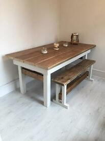 Reclaimed wood table and benches