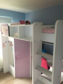 Kids highsleeper bed, includes fitted wardrobe and desk