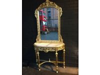 New French gold carved three piece consol table + mirror with marble top