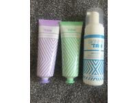 Skinny tan primer, gradual tan and tanning mouse, plus exfoliating mit and application mit