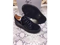 Giuseppe Zanotti Suede Black Low Top Leather Designer Men's Sneakers