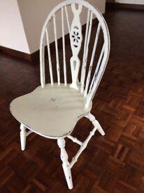 2 white restored chairs