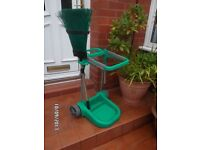 GARDEN CADDY / TROLLY .. WITH BROOM LEAF COLLECTOR NO WHEELES