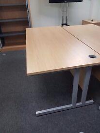 Large straight office desks in a Oak effect 1800mm