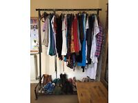 Pretty black clothes rail with shelf for shoes