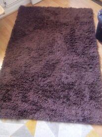 Brown shaggy 100% Wool rug 120 cm x 180 cm