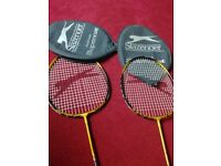 SLAZENGER 2 X BADMINTON RACKETS WITH CASES IN EXCELLENT CONDITION NO OFFERS