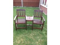 Wooden garden seat for 2 with attached table top