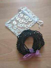 Pretty black bead bracelet pack 11 piece new with organza bag