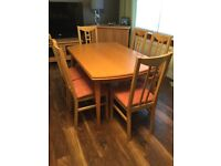 Beech extending dining table and 6 chairs