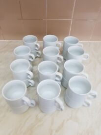 24 Olympia Whiteware Stacking Teacups with Saucers