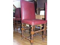 DINING CHAIRS SET OF 4 HIGH BACK BARLEY TWIST OAK AND STUDED LEATHER TOPS FREE EDINBURGH DELIVERY