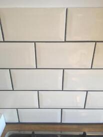Cream wall tiles 4 packs 25 in each box. Brand new from Homebase