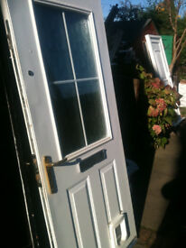 Exterior composite door with frosted double glazed glass and cat flap