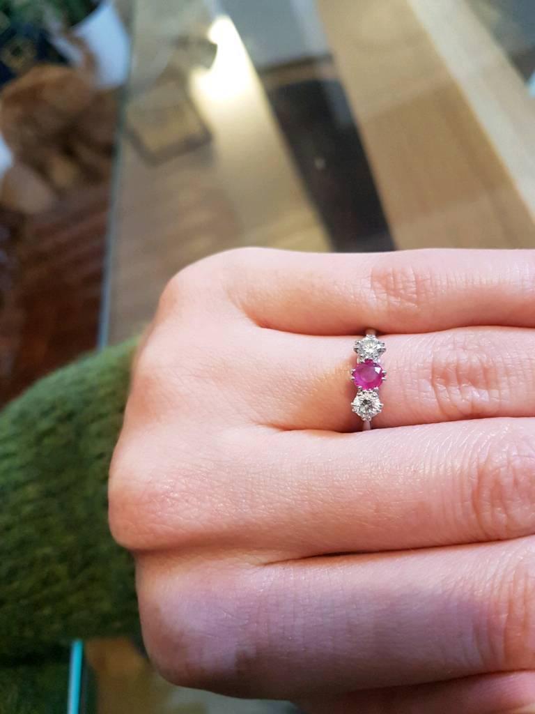 Stunning Diamond, Ruby & Platinum Engagement Ring