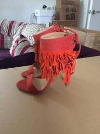 Topshop Orange Fringe Lace-up stiletto heels - UK Size 4