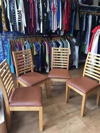 4 oak dining / chairs with leatherette seats £10 the lot