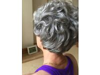 Short grey curled hair piece with care instructions 100% Acrylic in Vgc