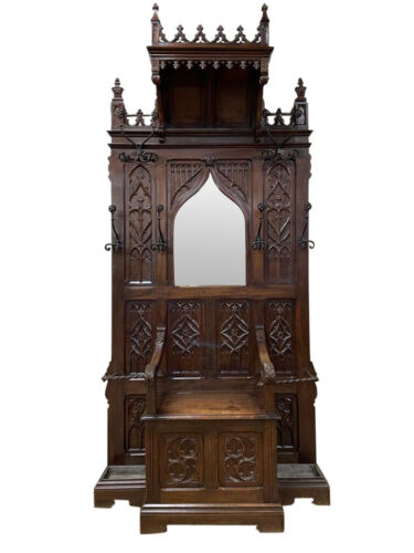 Throne Chair/ Bench / Hall Tree, Antique French Gothic Dating from 19th Century,