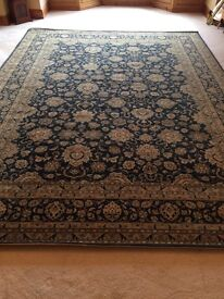 Royal Keshan very large 100 per cent wool blue oriental rug from G. H. Frith of Cannock