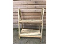 LARGE WOODEN OUTDOOR PLANT STAND, DISPLAY RACK.